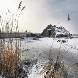 Het Ilperveld boven Amsterdam, afgelopen donderdag: als sneeuw en ijs weg zijn begint er onderzoek naar veenvorming.
